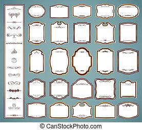 sätta, elements., etiketter, calligraphic, vektor, inramar
