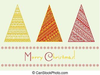sätta, elements., mönster, gifta sig med, ornament., träd, geometriskt, vektor, år, färsk, fodra, helgdag, jul, lycklig