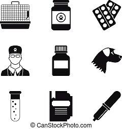 sätta, enkel, stil, veterinär, ikonen