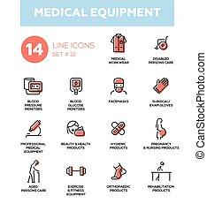 sätta, enkla symboler, medicinsk, nymodig, -, utrustning, ...