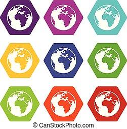sätta, färg, klot, mull, hexahedron, ikon