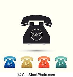sätta, färg, telefon, fyllda, öppna, 24, service, stöd, bakgrund., 7, vit, elementara, icons., hour., timmar, illustration, dag, ikon, kund, week., call-center., dagar, vektor, all-day