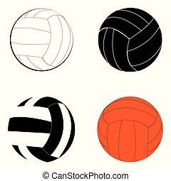sätta, färg, volleyboll, vektor, svart, vit