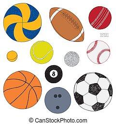 sätta, färgad, isolerat, hand, vektor, bakgrund, oavgjord, balls., sport, vit, sketch.