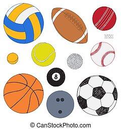 sätta, färgad, isolerat, kollektion, hand, bakgrund., vektor, oavgjord, balls., sport, vit, sketch.