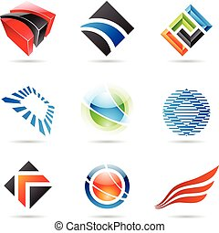 sätta, färgrik, abstrakt, ikonen, 1, olika
