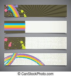 sätta, färgrik, abstrakt, vektor, retro, baner
