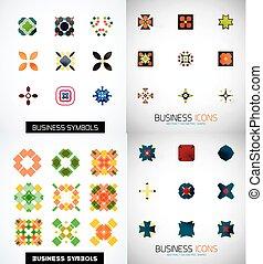 sätta, färgrik, ikonen, abstrakt, symmetriskt, geometrisk