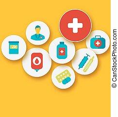 sätta, färgrik, ikonen, medicinsk, design, din