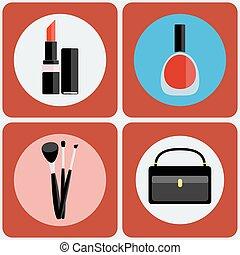 sätta, färgrik, smink, redskapen, ikon