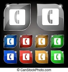 sätta, färgrik, tio, telefonlur, glare., knäppas, vektor, skylt., ikon