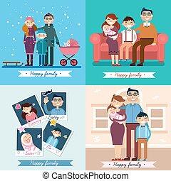 sätta, familj, nyfödd, vektor, illustrationer,  baby, lycklig