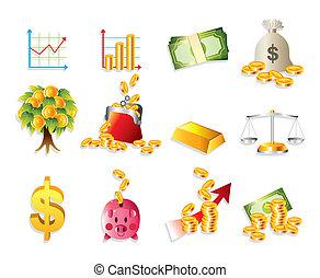 sätta, finans, &, pengar, tecknad film, ikon