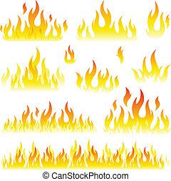 sätta, flammor, kollektion