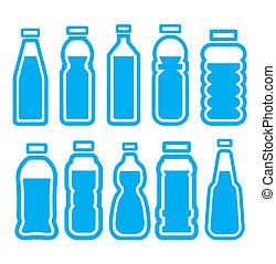 sätta, flaska, plastisk