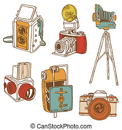 sätta, foto, cameras, -, hand-drawn, vektor, doodles