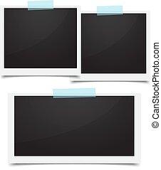 sätta, foto, illustration, bakgrund., vektor, inramar, vit