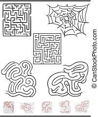 sätta, fritid, lek, lösningar, grafik, labyrint