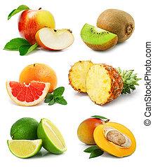 sätta, frukter, med, snitt, och, grönt lämnar