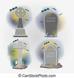 sätta, gammal, kyrkogård, objekt, gravstenar, vektor