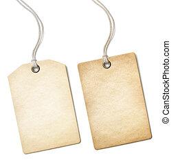 sätta, gammal, pris tagen, isolerat, etikett, papper, tom, vit, eller