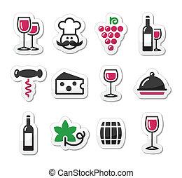 sätta, glas, etiketter, -, flaska, vin