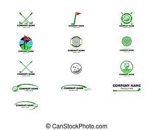sätta, golf, illustration, vektor, design, mall, logo, ikon