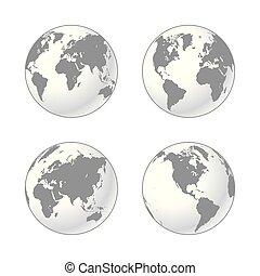 sätta, grå, glober, mull, vit, skuggat