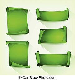 sätta, grön, pergament, rulla