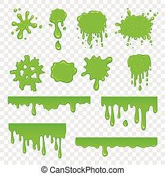 sätta, grön, slam