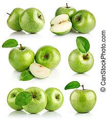 sätta, grönt äpple, frukter, med, blad