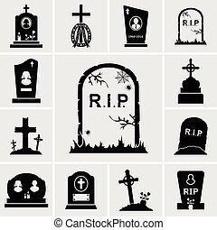 sätta, gravestones, ikonen