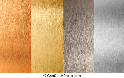 sätta, guld, metall, nonferrous, silver, brons