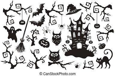 sätta, halloween, objekt