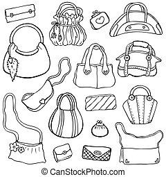 sätta, handbags., hand, 3, vektor, oavgjord, kvinnor