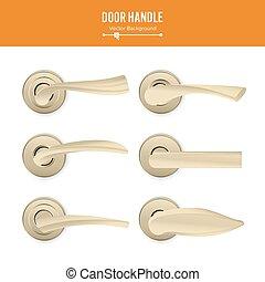 sätta, handtag, guld, klassisk, metall, lock., isolerat, illustration, element, realistisk, bakgrund., vector., dörr, vit, block