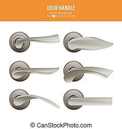 sätta, handtag, klassisk, metall, lock., isolerat, illustration, element, mörk, realistisk, bakgrund., vector., dörr, vit, block