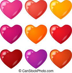 sätta, hjärta, valentinbrev