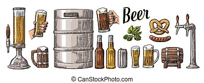 sätta, holdingen, kagge, kan, korv, två, öl mugg, flaska, ...