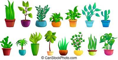 sätta, houseplants, stil, tecknad film, ikonen