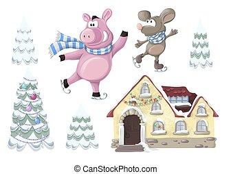 sätta, -, hus, gris, träd., jul