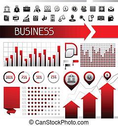 sätta, icons., affär, infographics