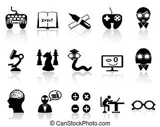 sätta, ikon, nerds