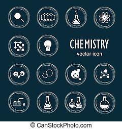 sätta, ikonen, biologi, kemi, vektor, medicin