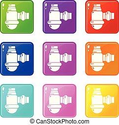 sätta, ikonen, färg, hävert, kollektion, 9, avloppsvatten