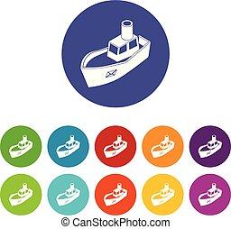 sätta, ikonen, färg, leverans, vektor, hav, skepp