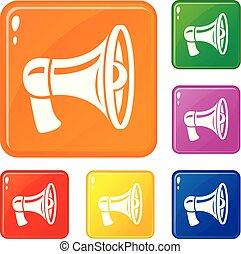 sätta, ikonen, färg, vektor, retro, megafon