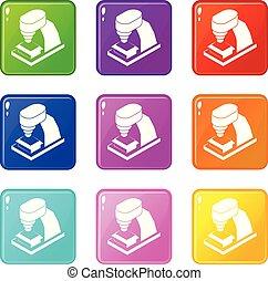 sätta, ikonen, färg, verktyg, kollektion, maskin, 9