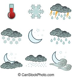 sätta, ikonen, färga, väder, natt, dag