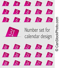 sätta, ikonen, illustration, numbers., vektor, kalender